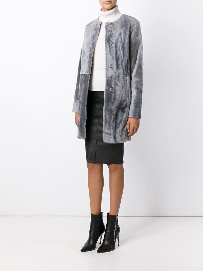 Drome Shearling Reversible Coat in Gray | Lyst
