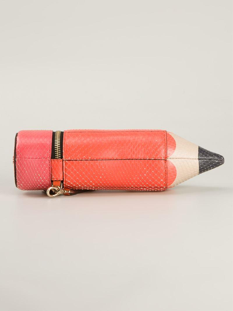 Anya Hindmarch Anya Hindmarch Femme Orange Taille Embrayage Python Imprimé Étui À Crayons Livraison Gratuite Profiter fN2kfKp2G