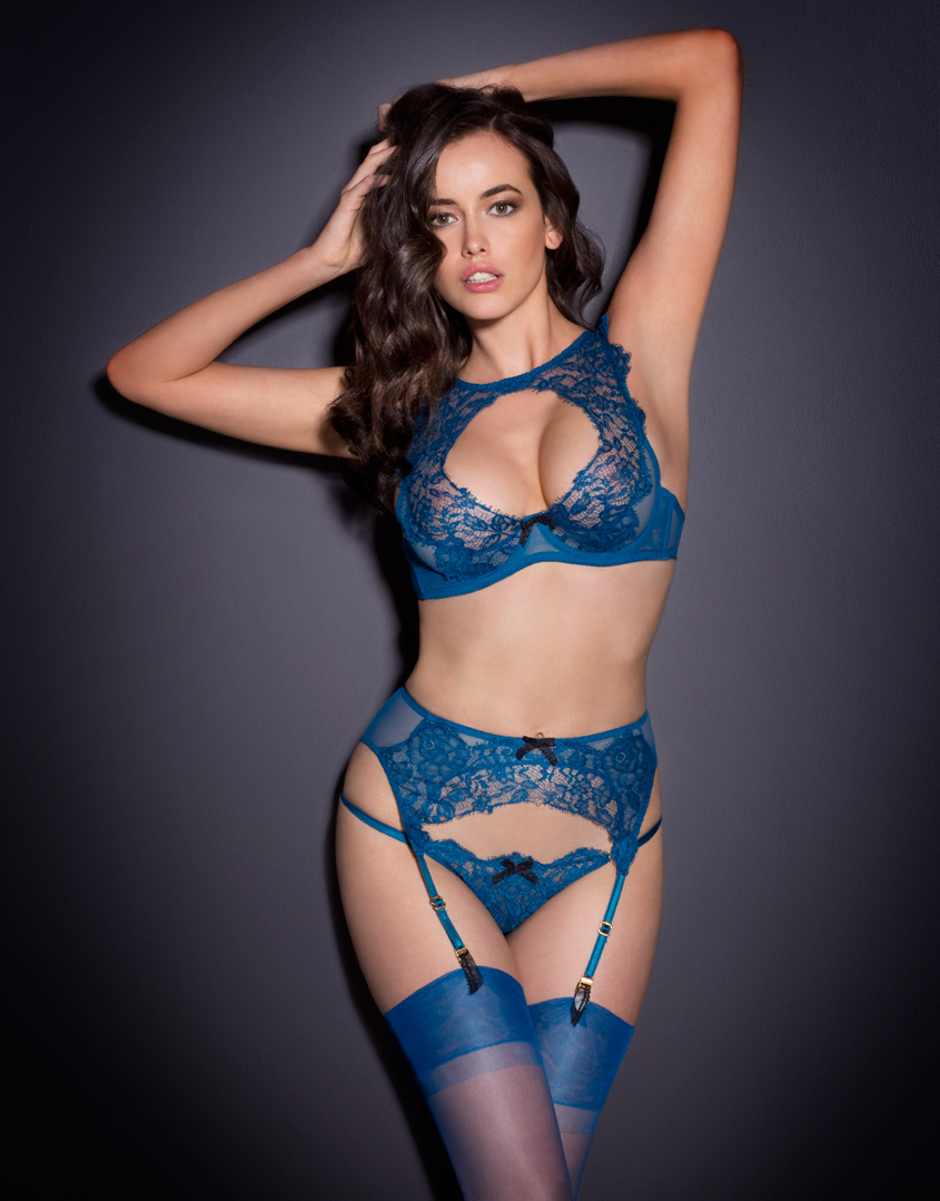 lyst agent provocateur cassia suspender in blue. Black Bedroom Furniture Sets. Home Design Ideas