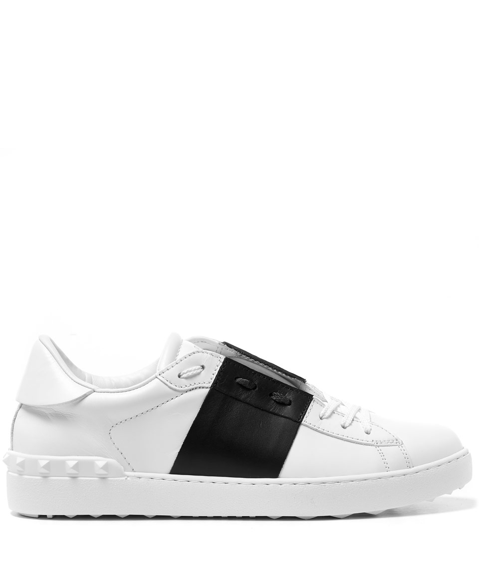 Lyst Lyst Valentino Leather White White White Tennis Black And in Stripe Trainers rprwS1q