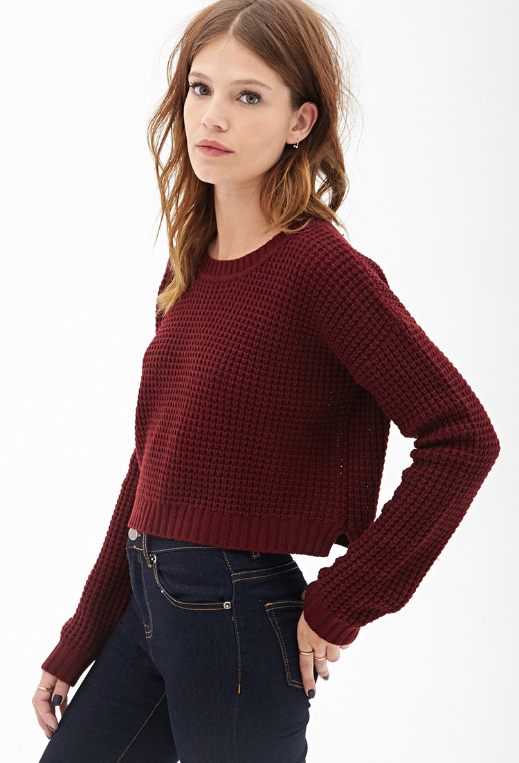 Forever 21 Cropped Waffle Knit Sweater in Red | Lyst