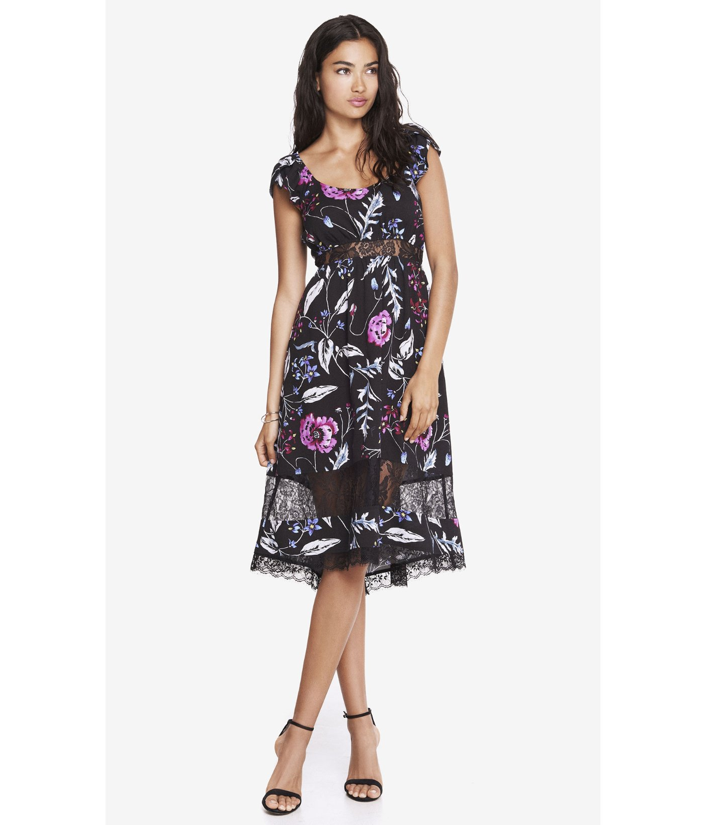 d8734ff9a Express Floral Lace Inset Midi Dress - Lyst