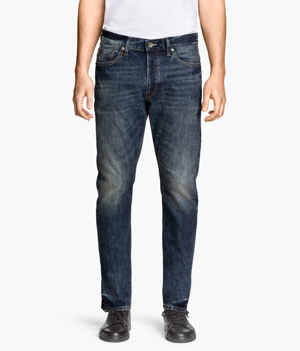 h m tapered low jeans in blue for men lyst