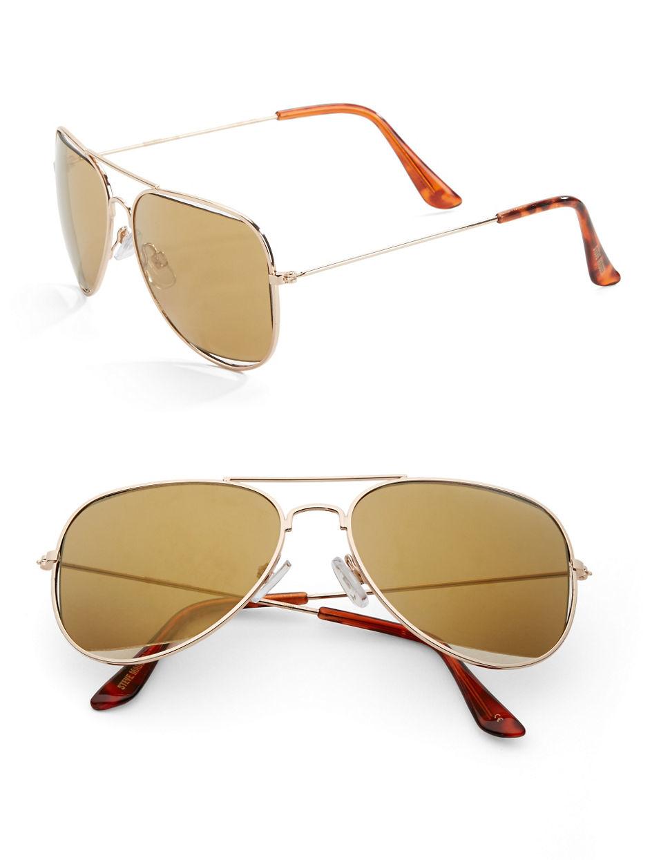 963a39cf0 Lyst - Steve Madden 63mm Aviator Sunglasses in Metallic