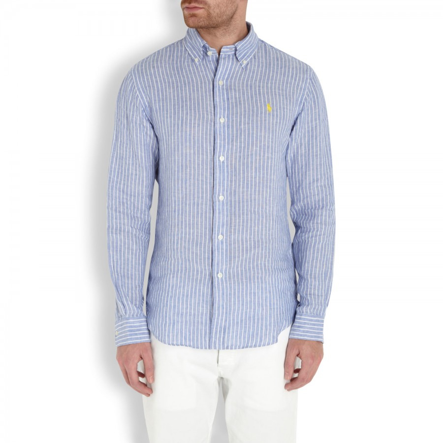 ba512c45de ... reduced polo ralph lauren striped linen shirt in white for men lyst  9b5cd 4619c
