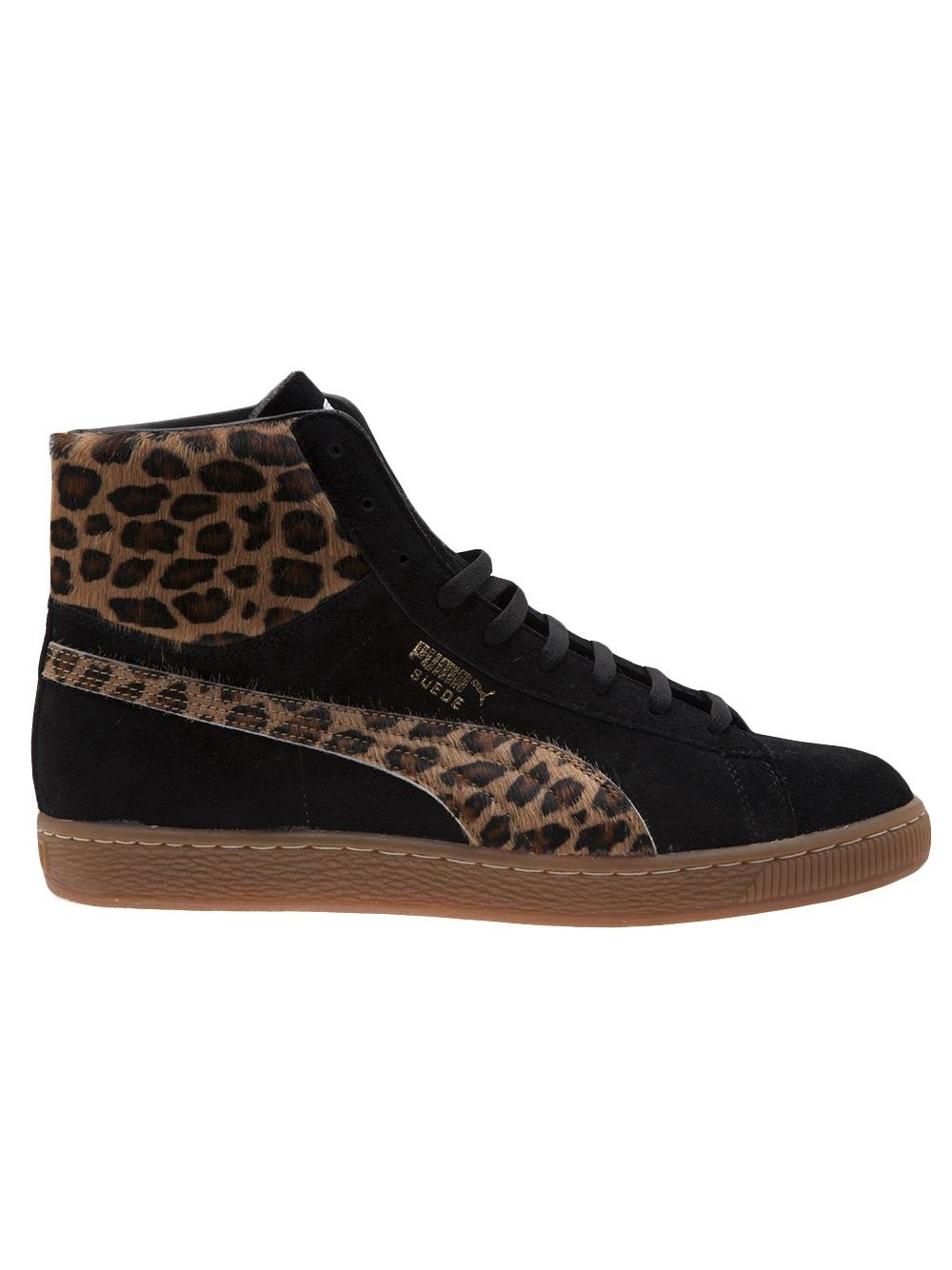 puma leopard high top trainer in black for men lyst
