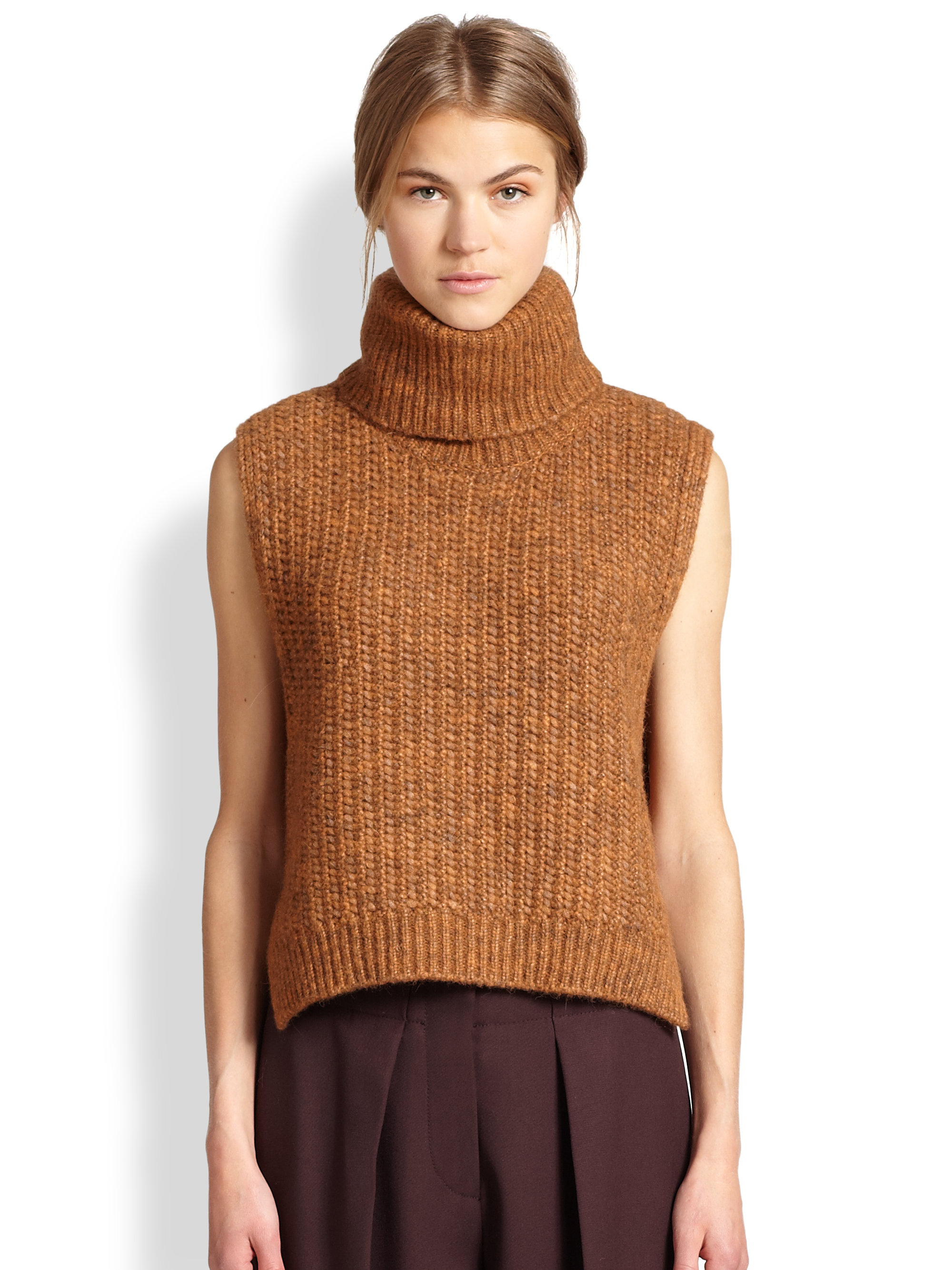 3.1 phillip lim Alpaca Sleeveless Turtleneck Sweater in Orange | Lyst