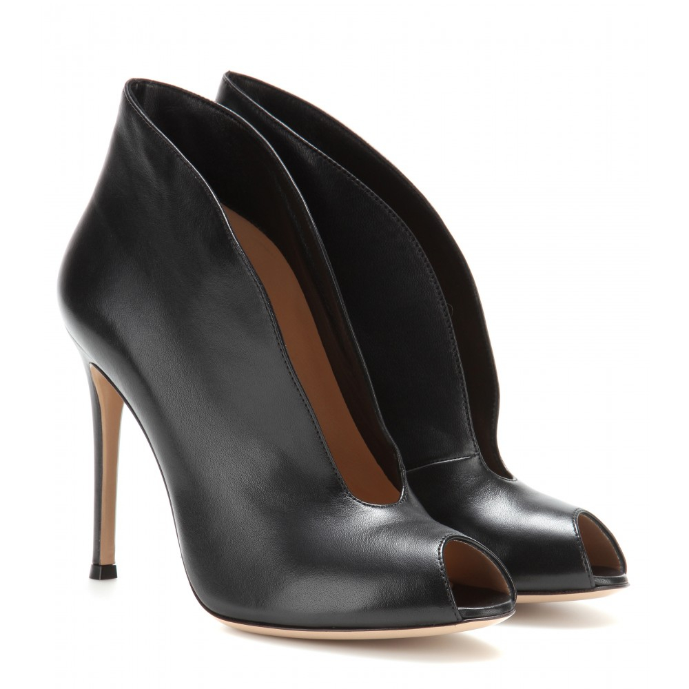 gianvito rossi vamp leather peep toe ankle boots in black lyst. Black Bedroom Furniture Sets. Home Design Ideas