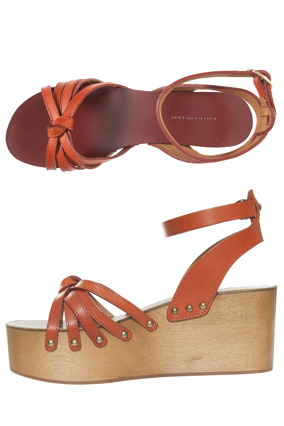 Lyst 201 Toile Isabel Marant Zia Wedge Sandals In Pink