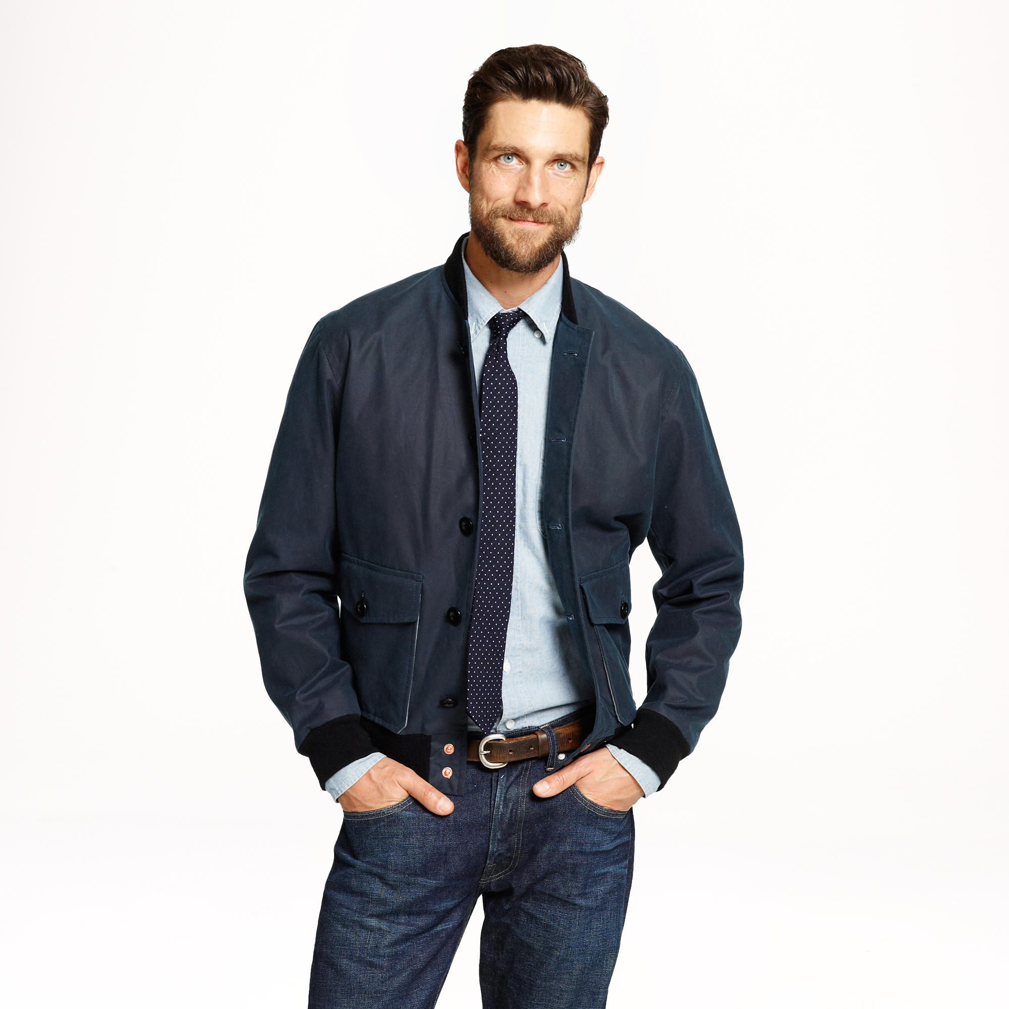 Lyst J Crew Private White V C Waxed Bomber Jacket In