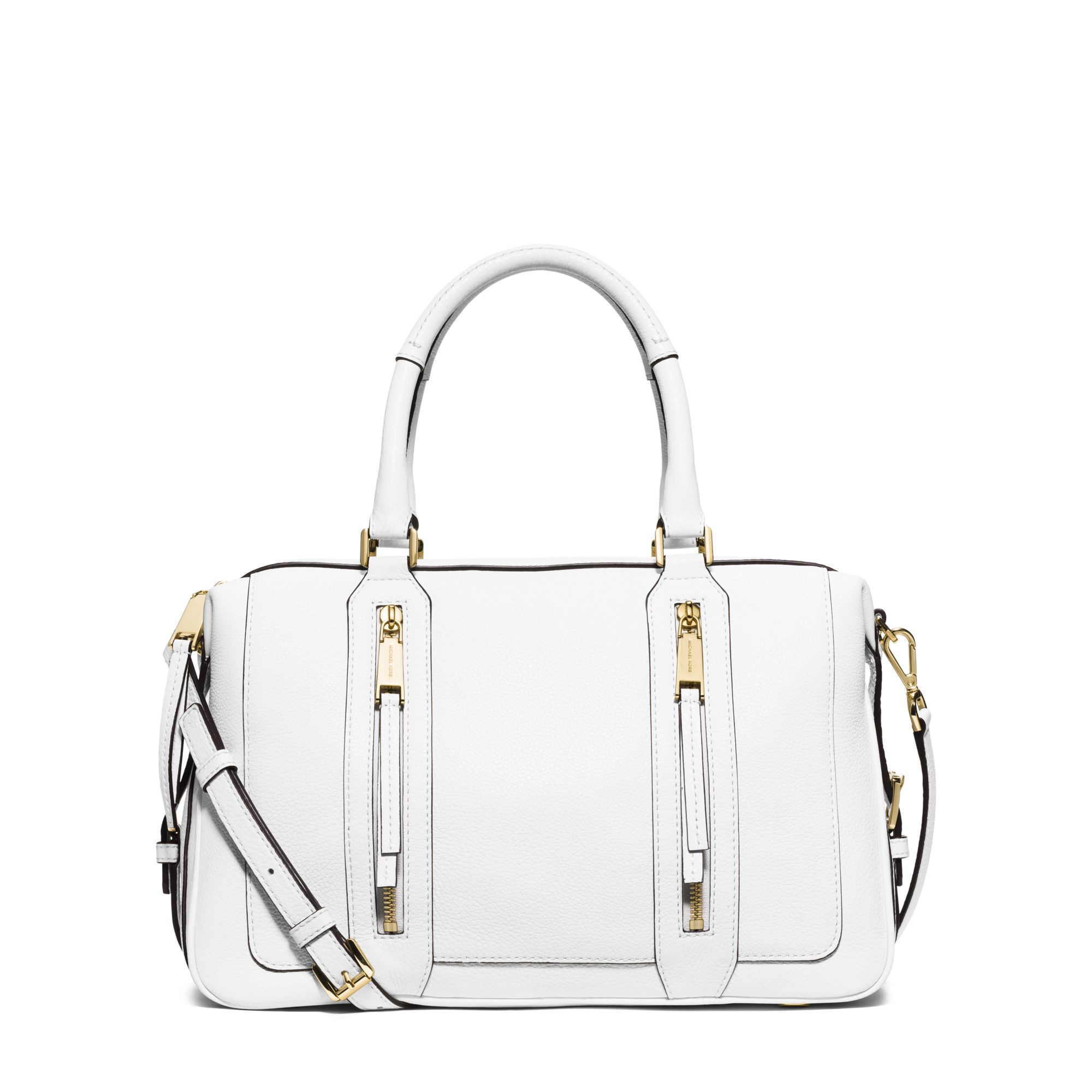 lyst michael kors julia large leather satchel in white rh lyst com