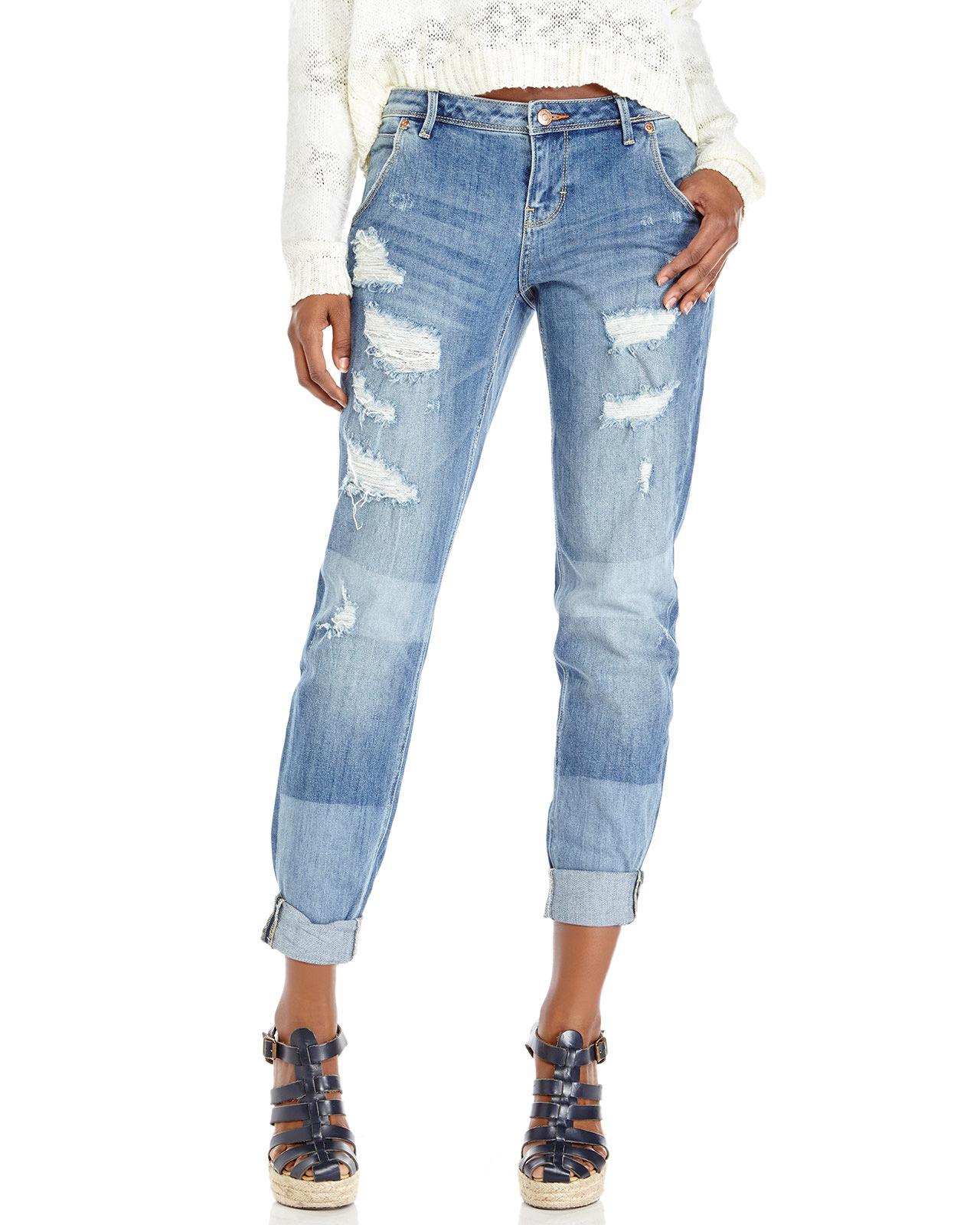dittos medium wash destroyed boyfriend jeans in blue medium wash lyst. Black Bedroom Furniture Sets. Home Design Ideas