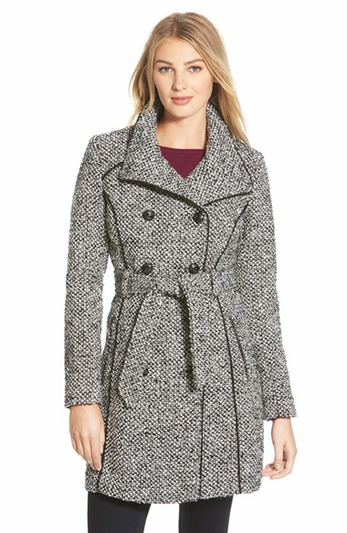Guess Belted Tweed Trench Coat in Black | Lyst