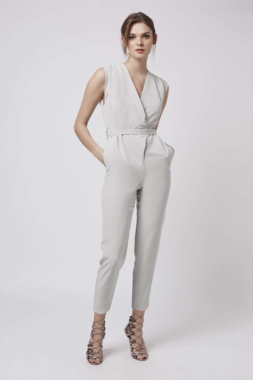 428b8a642de Lyst - TOPSHOP Petite Wrap Belted Jumpsuit in Natural