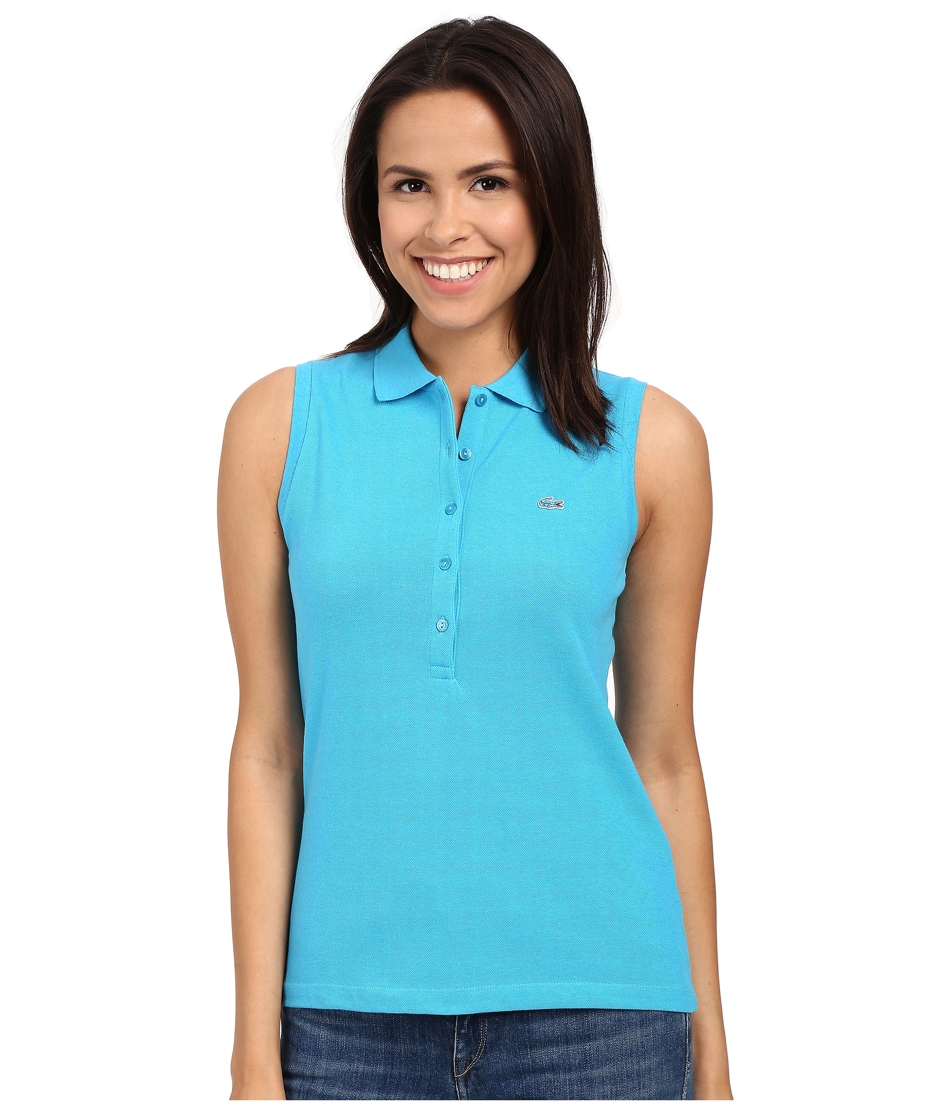 44f68f021b Lacoste Sleeveless Slim Fit Stretch Pique Polo Shirt in Blue - Lyst