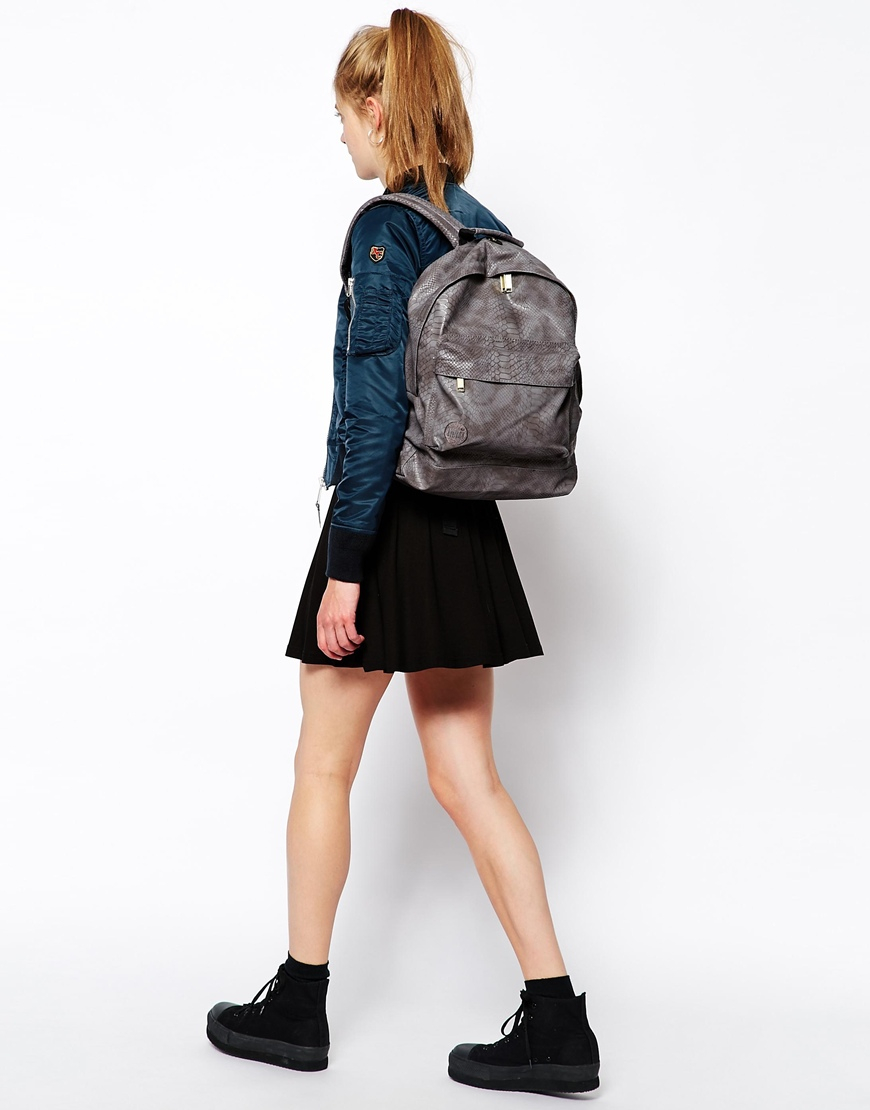 103f42bc787 Mi-Pac Mi Pac Backpack in Faux Python in Gray - Lyst