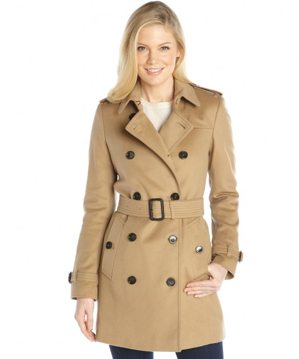 Burberry Camel Wool and Cashmere Double Breasted Belted Trench ...