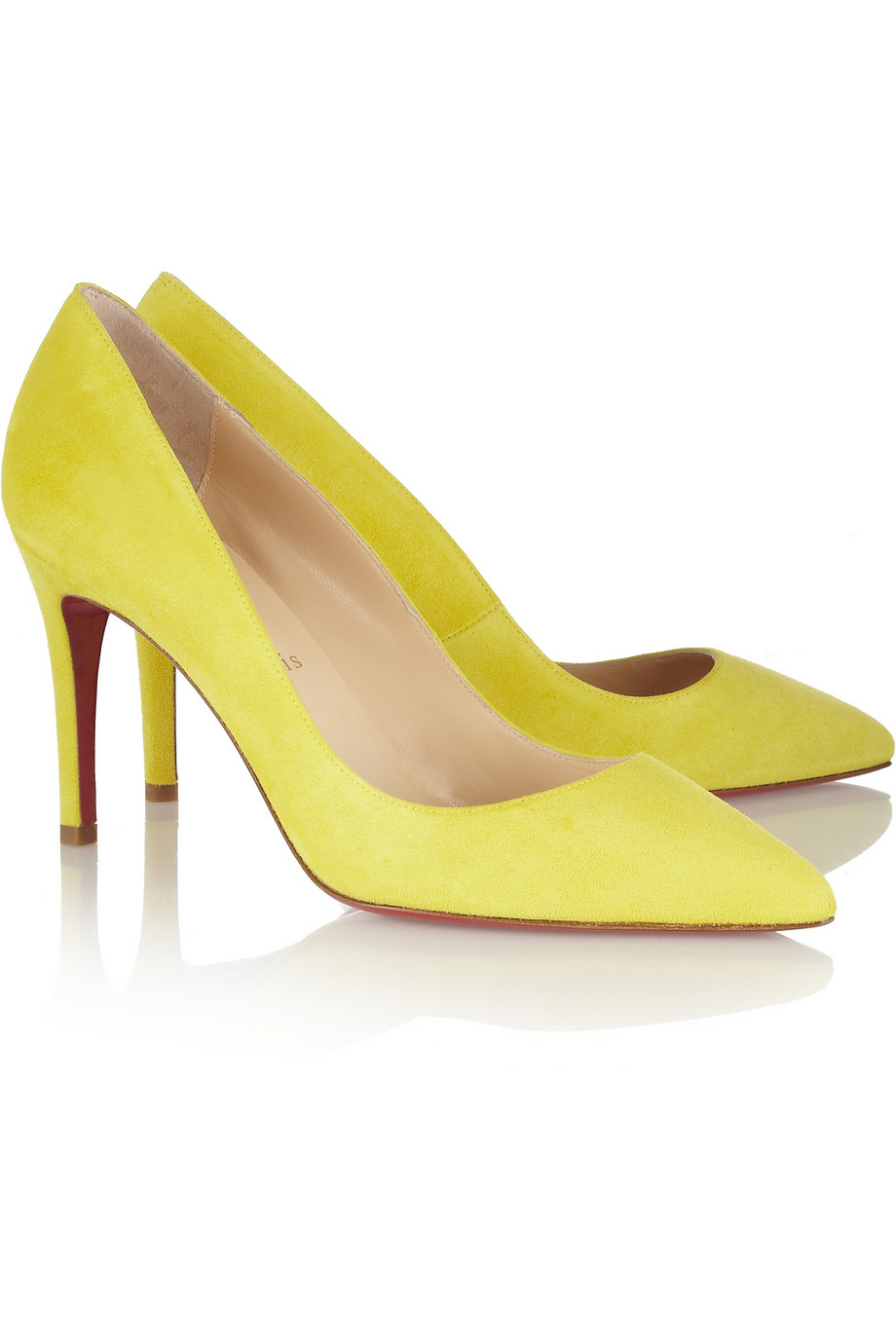4f4542641ca6 Lyst - Christian Louboutin Pigalle 85 Suede Pumps in Yellow
