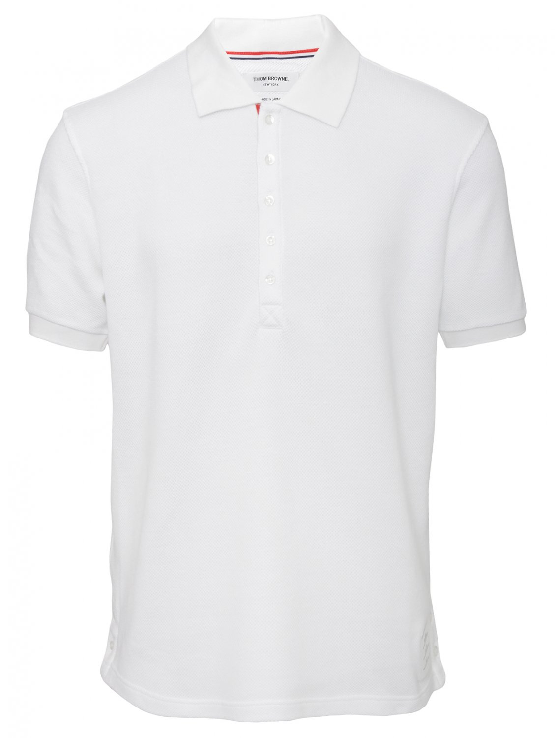 Thom browne knit collar polo shirt white in white for men for Knitted polo shirt mens