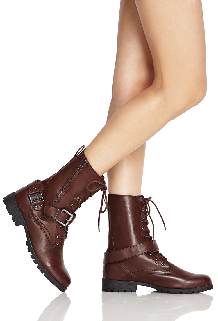 19afdacd32b8 Lyst - Forever 21 Lace-up Buckled Combat Boots in Brown