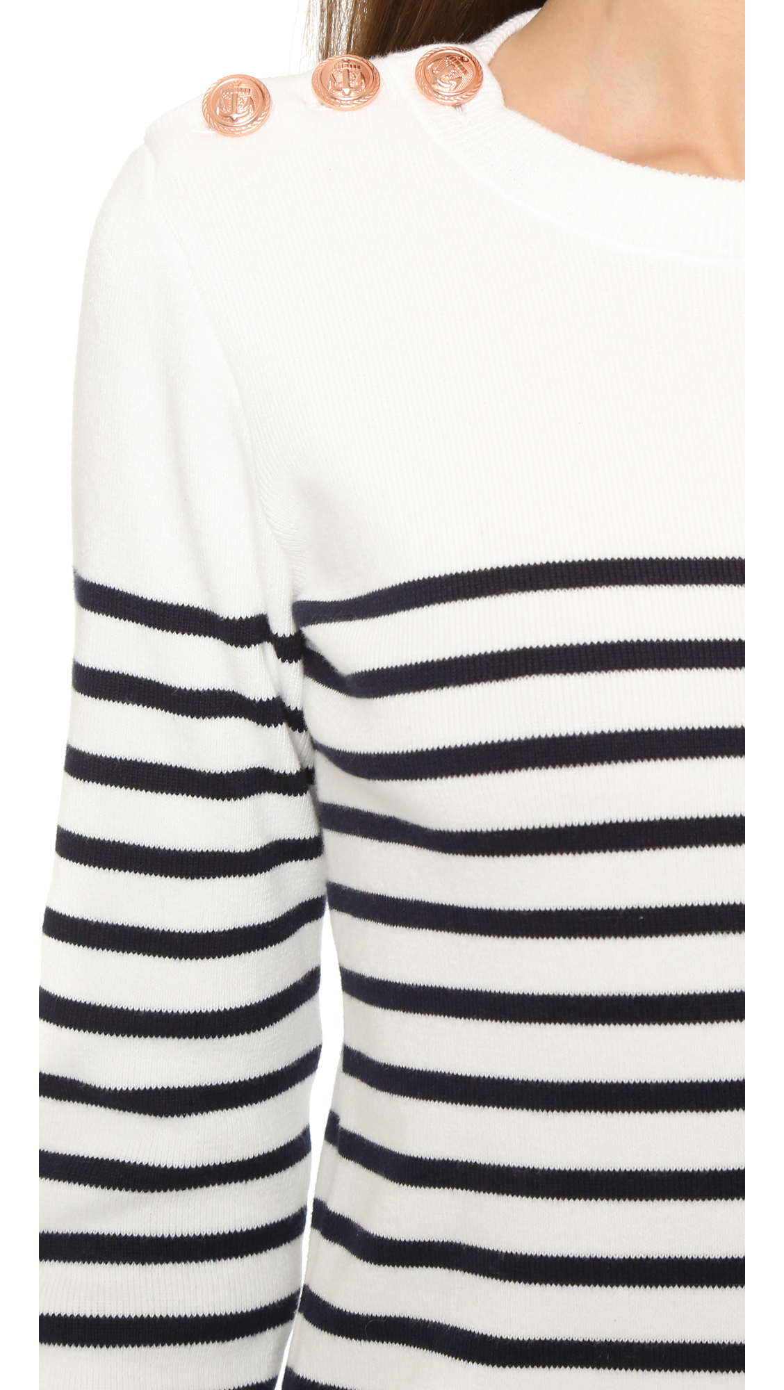 4517a2aaded1c Lyst - Petit Bateau Knit Striped Sweater in White