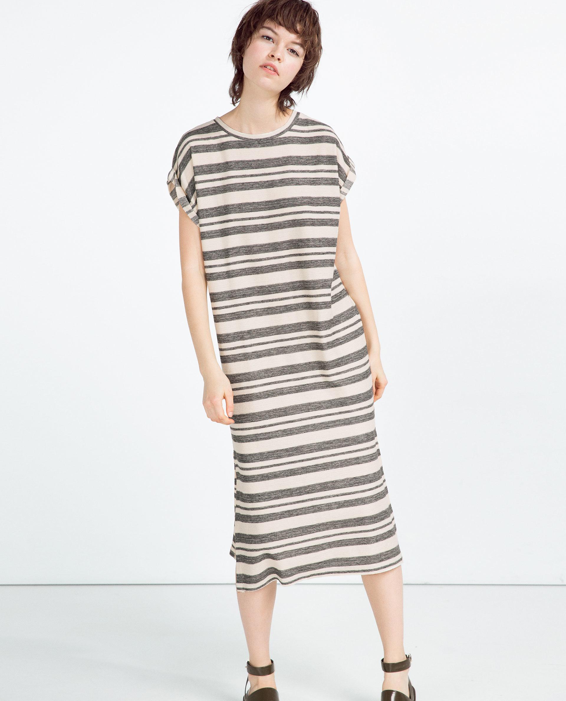 Zara Horizontal Stripes Dress in Yellow | Lyst