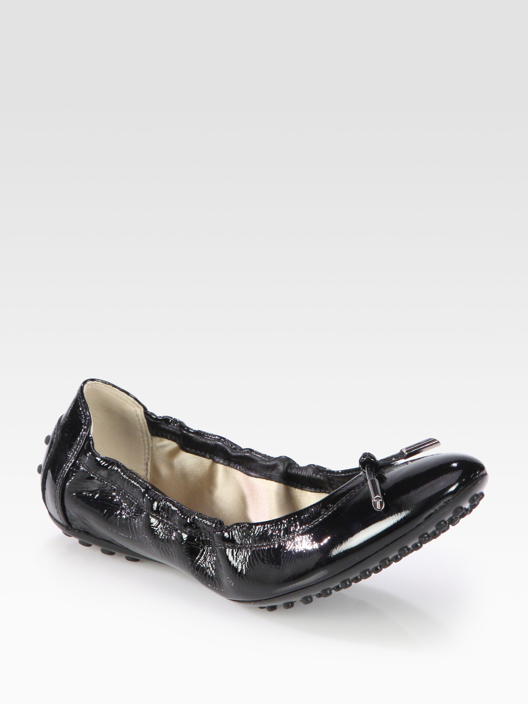 e3e66c90f3 Tod's Patent Leather Ballet Flats in Black - Lyst