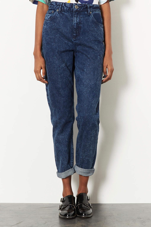 lyst topshop moto indigo acid mom jeans in blue