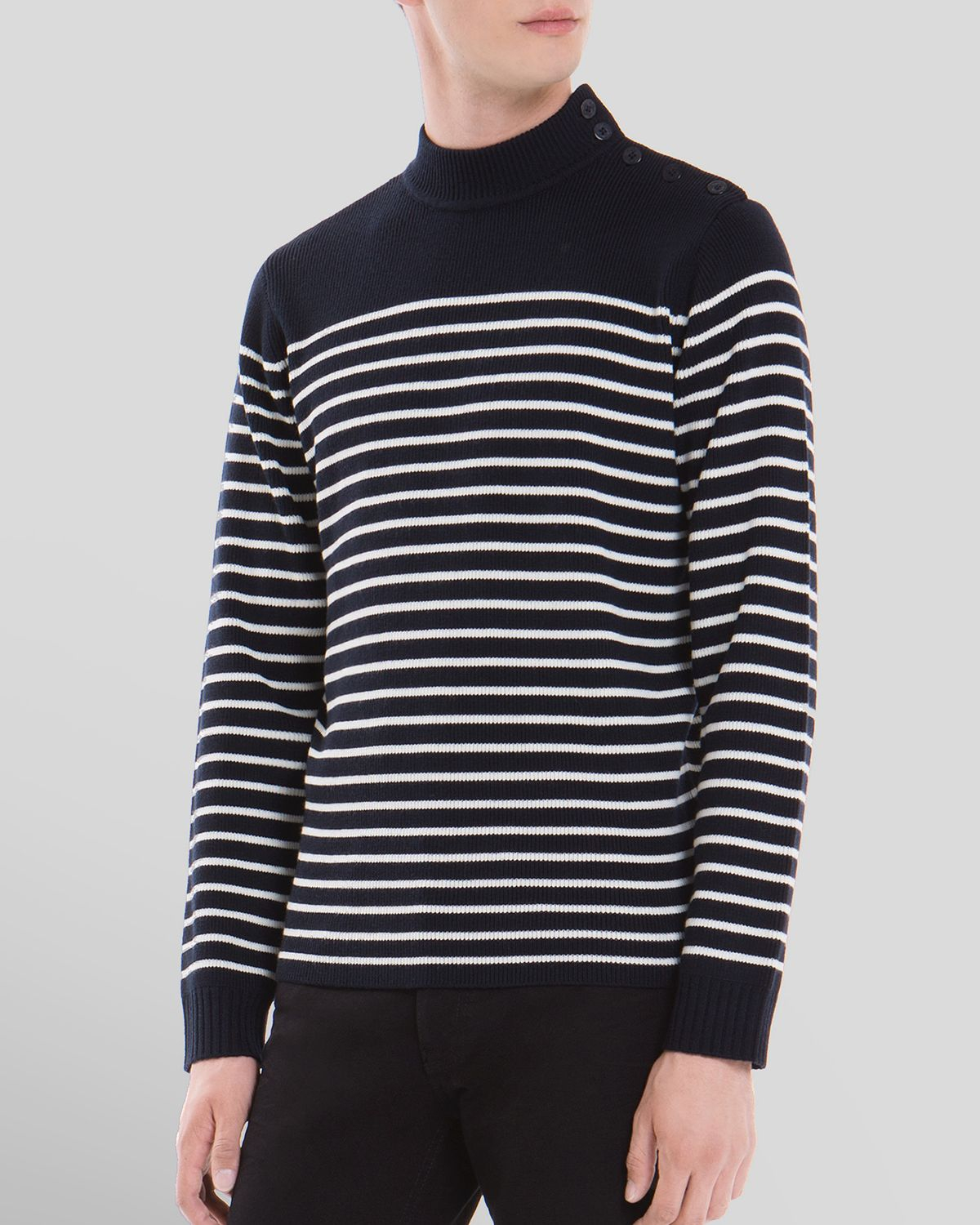Sandro Sailor Stripe Shoulder Button Sweater in Blue for Men | Lyst