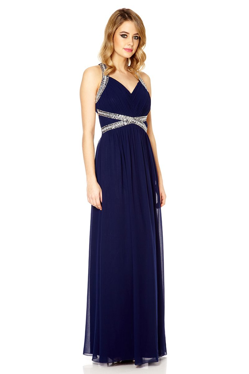 Quiz Navy Crossover Embellishment Maxi Dress In Blue Lyst