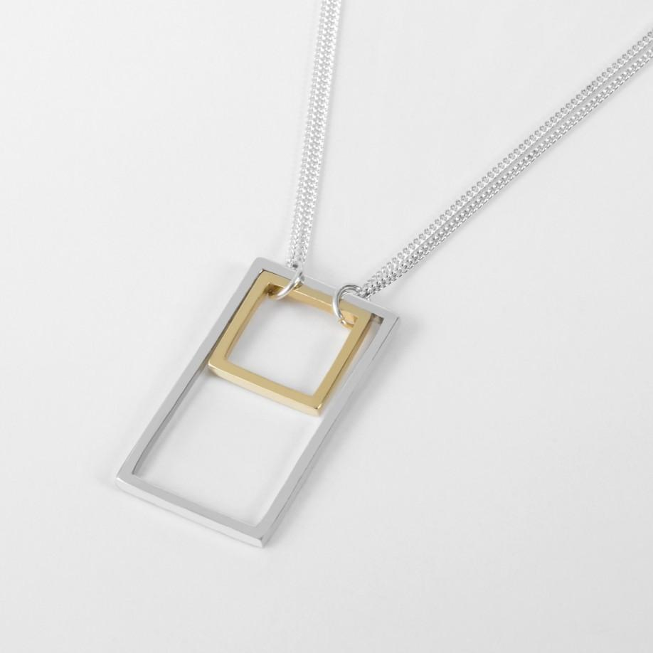 paul smith sterling silver rectangle and square necklace