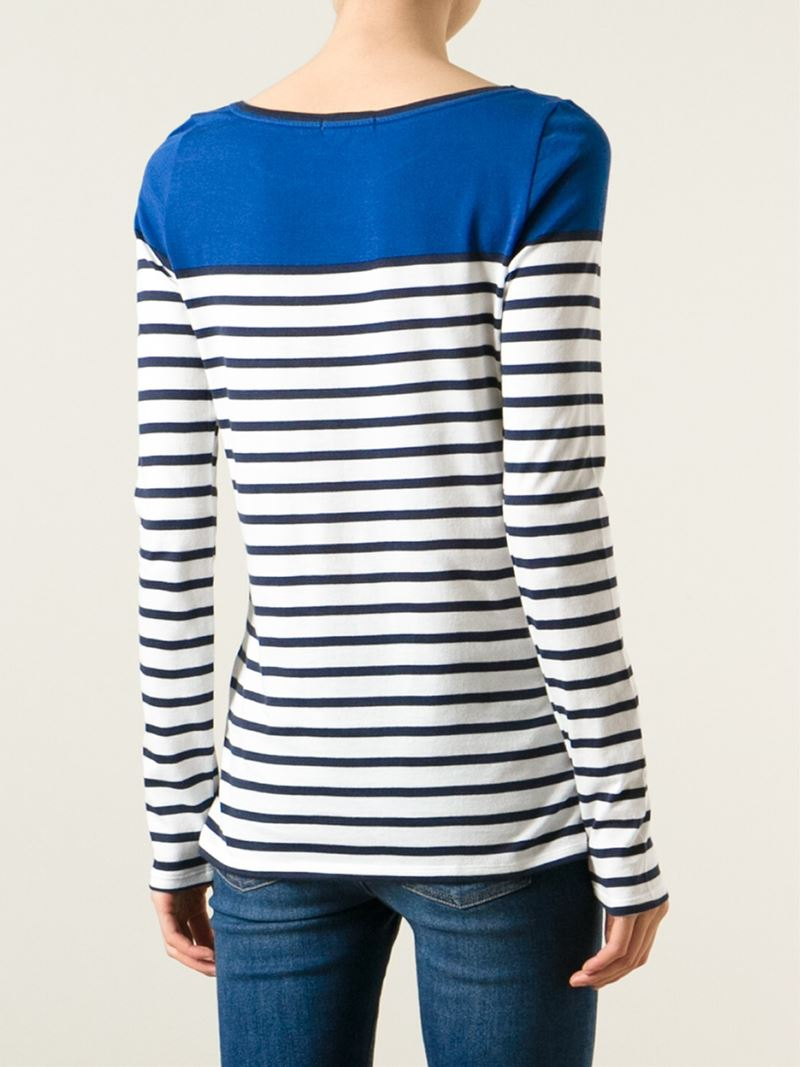 Petit bateau striped sweater in blue lyst for Petit bateau striped shirt