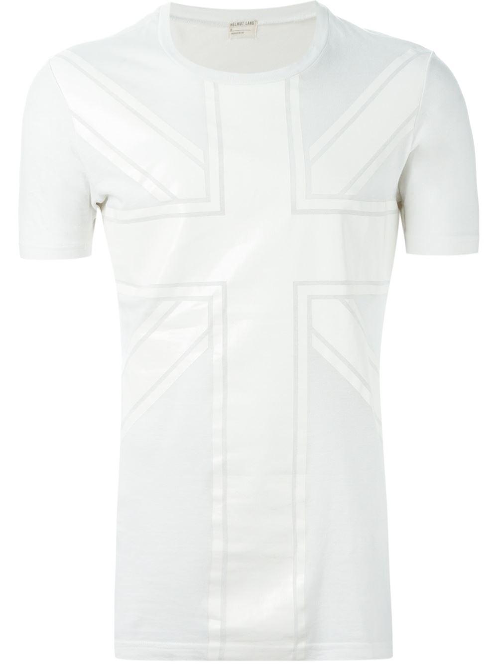 Helmut lang union jack print t shirt in white for men lyst for Helmut lang t shirt