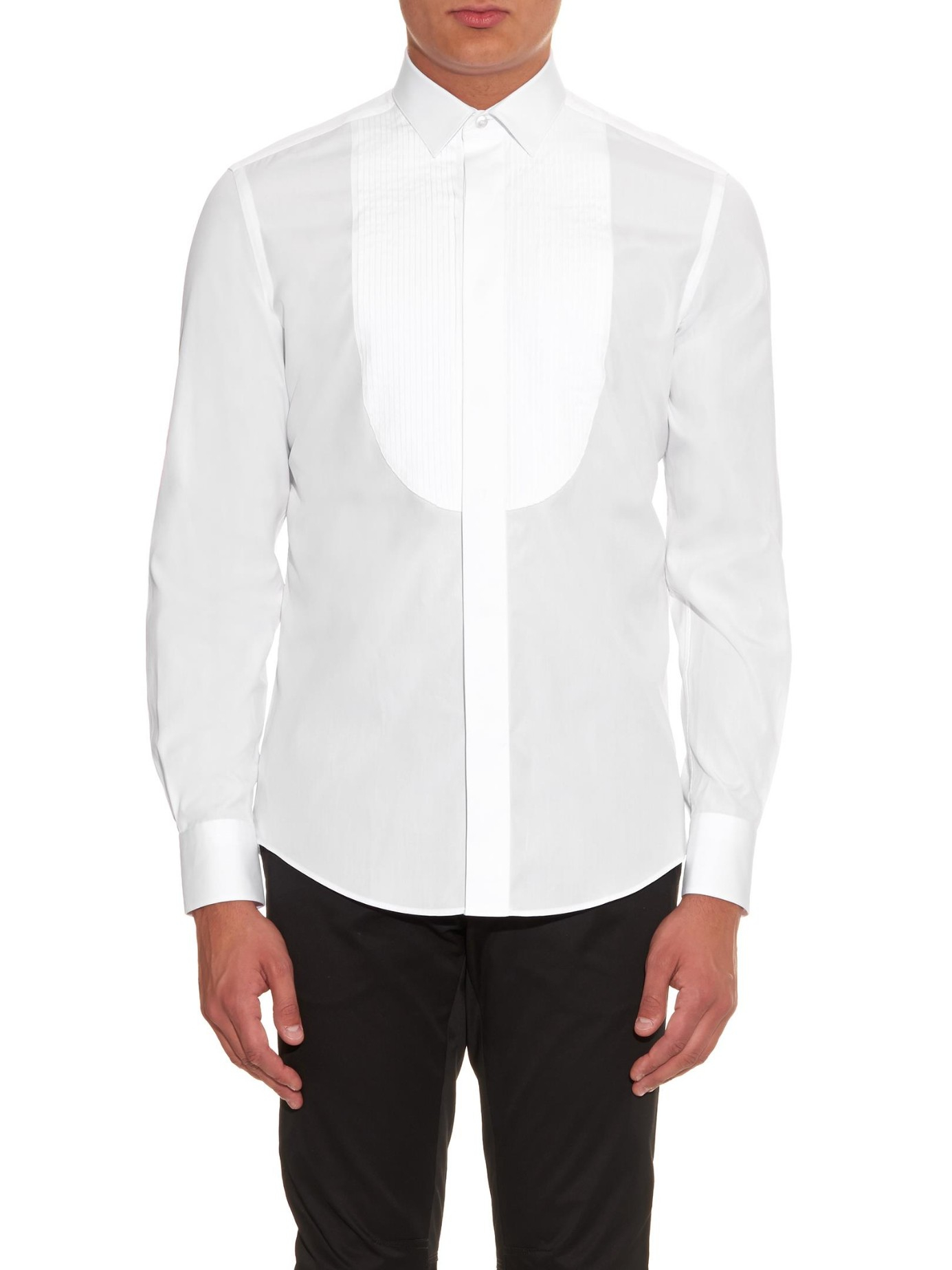 Lanvin pleated bib front cotton shirt in white for men lyst for Tuxedo shirt bib front