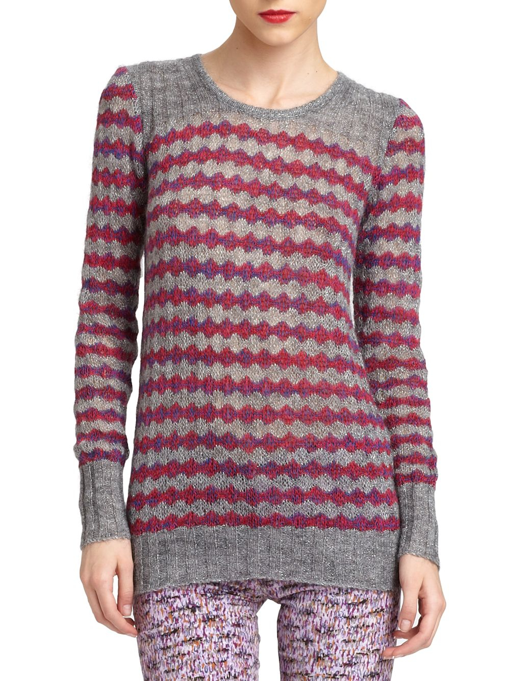 marc by marc jacobs twinkle stripe metallic knit pullover in gray lyst. Black Bedroom Furniture Sets. Home Design Ideas