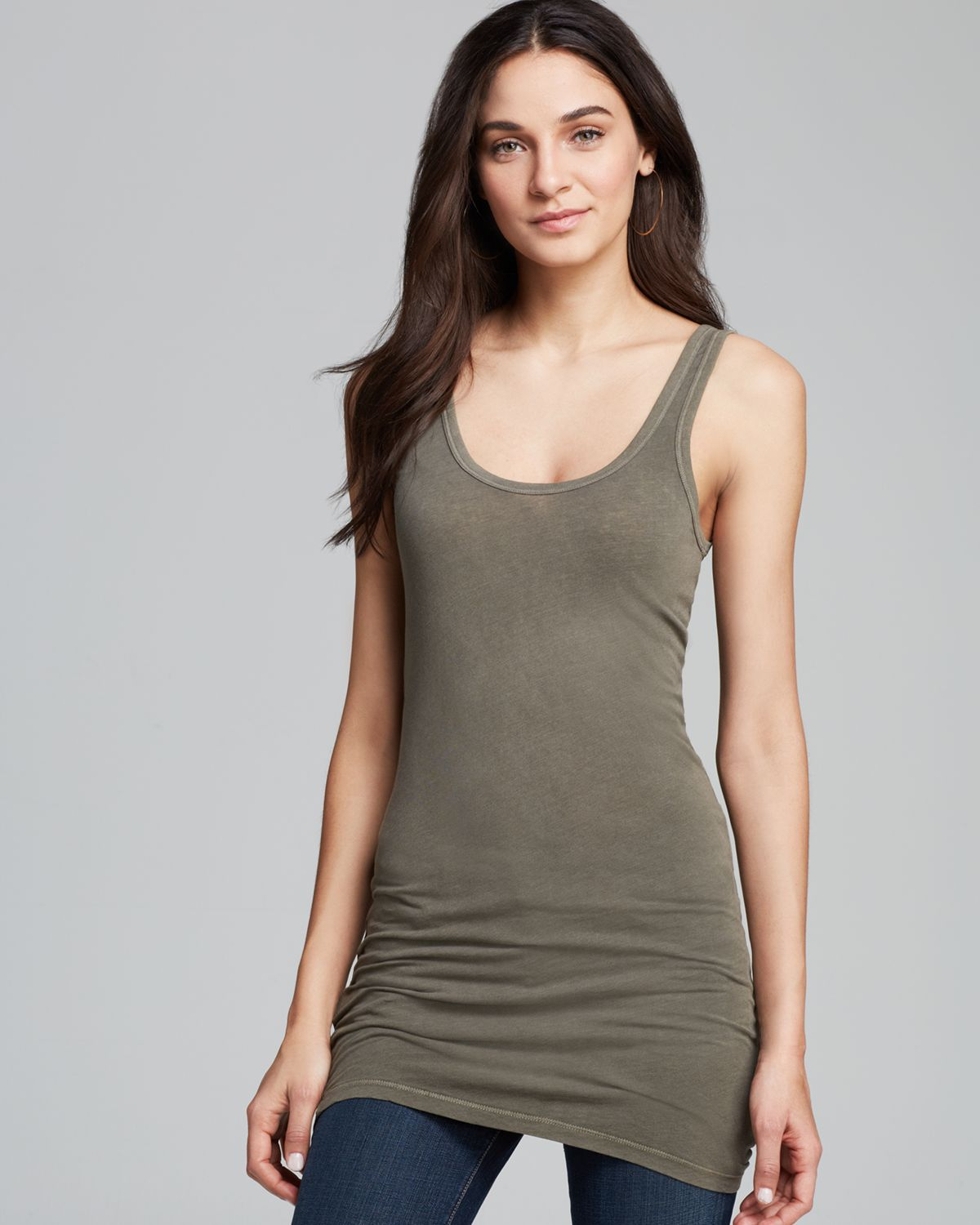 3ed5d2638ca177 James Perse Tank Dress Long Skinny in Green - Lyst