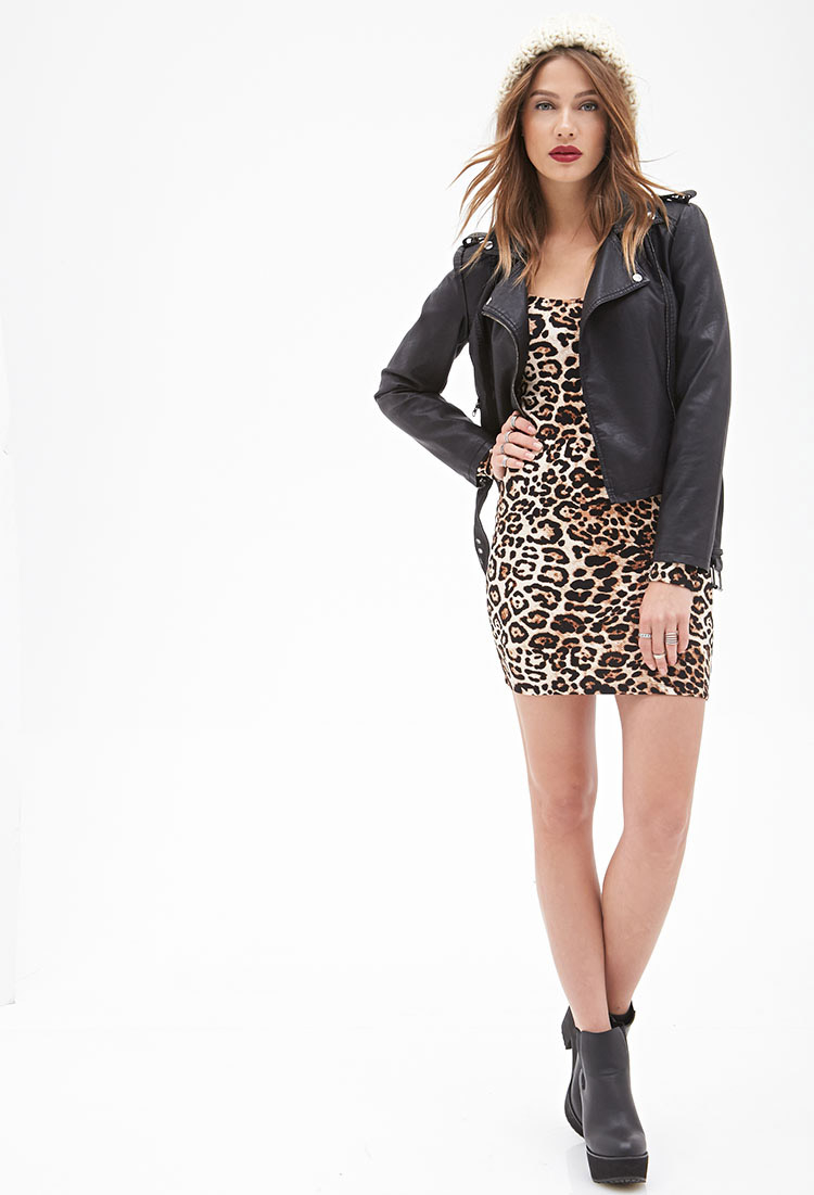 Forever 21 Leopard Print Bodycon Dress in Brown