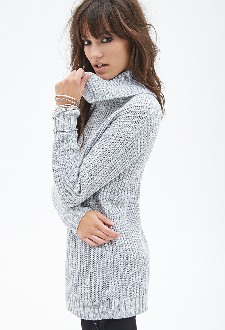 5e934cf09 Lyst - Forever 21 Waffle Knit Turtleneck Sweater in Gray