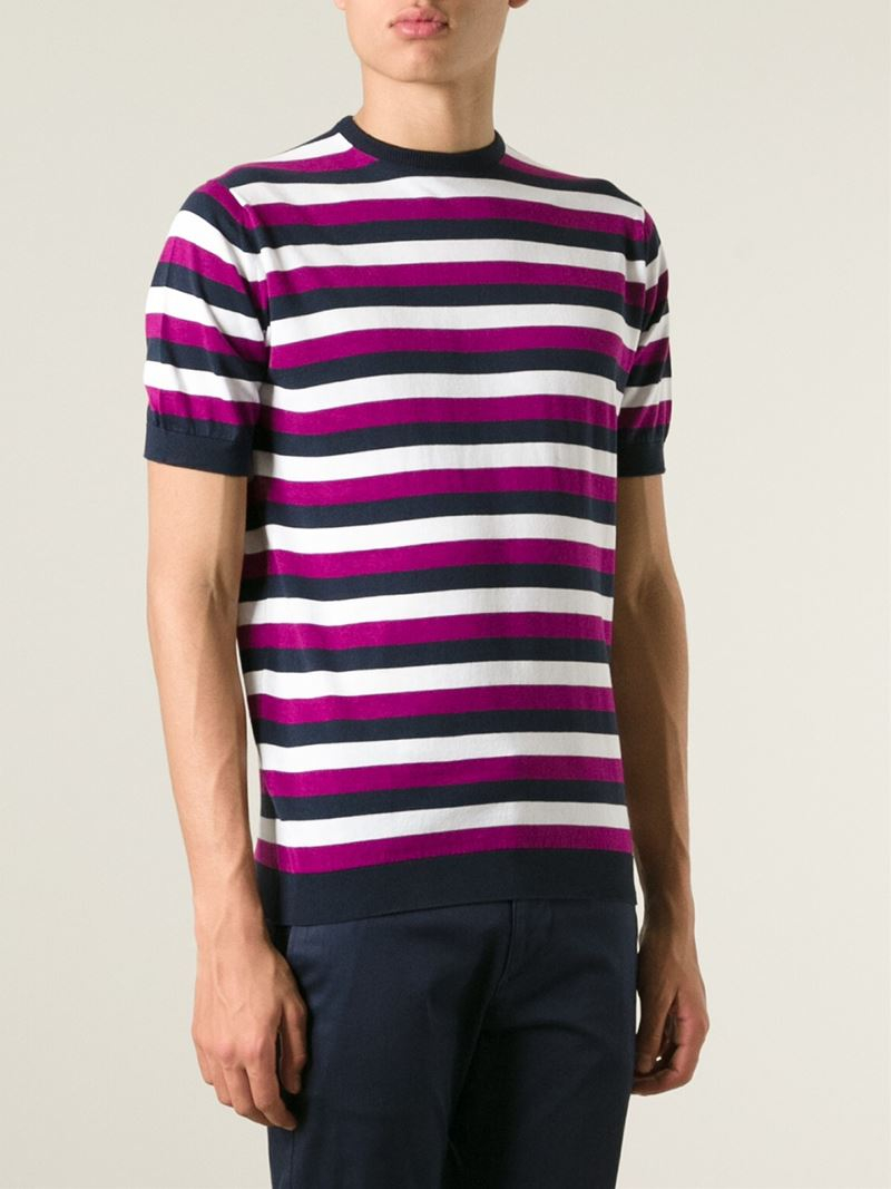 Lyst john smedley 39 jetty 39 striped t shirt in pink for men for Purple and black striped t shirt