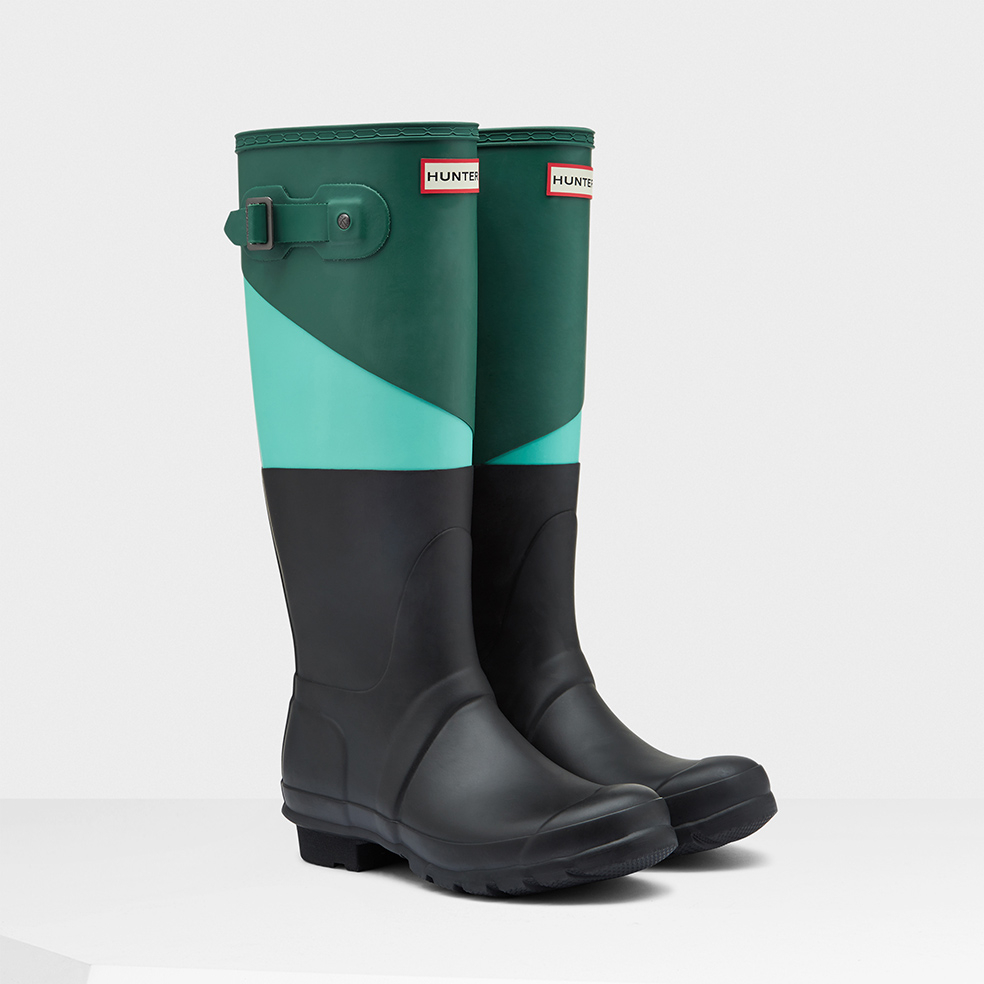 asymmetrical colorblock boots in green lyst