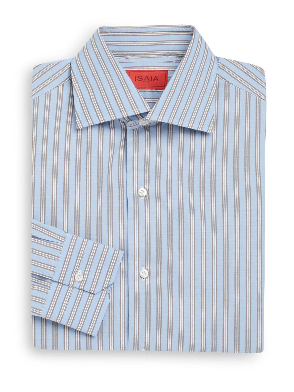 Lyst isaia regular fit multistripe dress shirt in blue for Regular fit dress shirt
