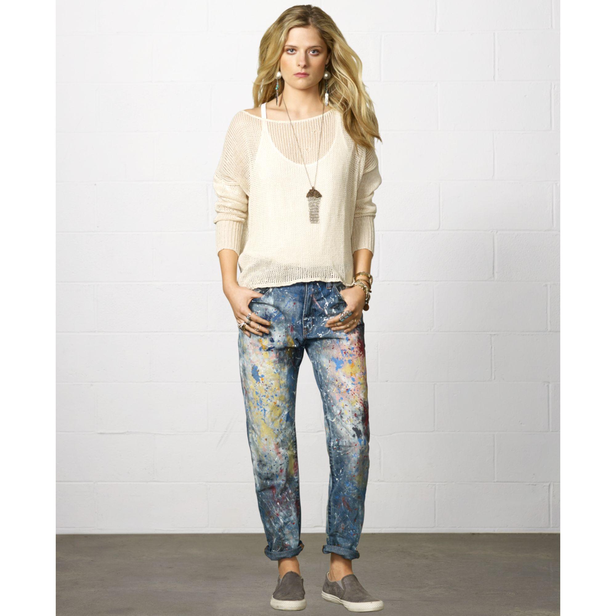 LOFT Denim Paint Splatter Boyfriend Jeans In Indigo Wash