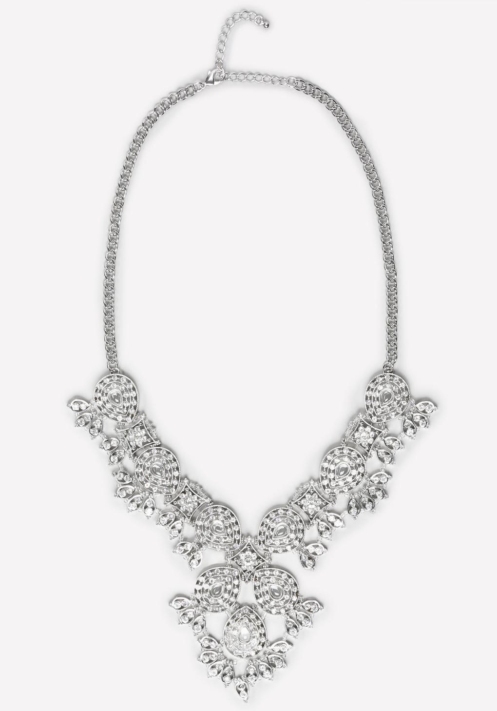 bebe filigree necklace in metallic lyst