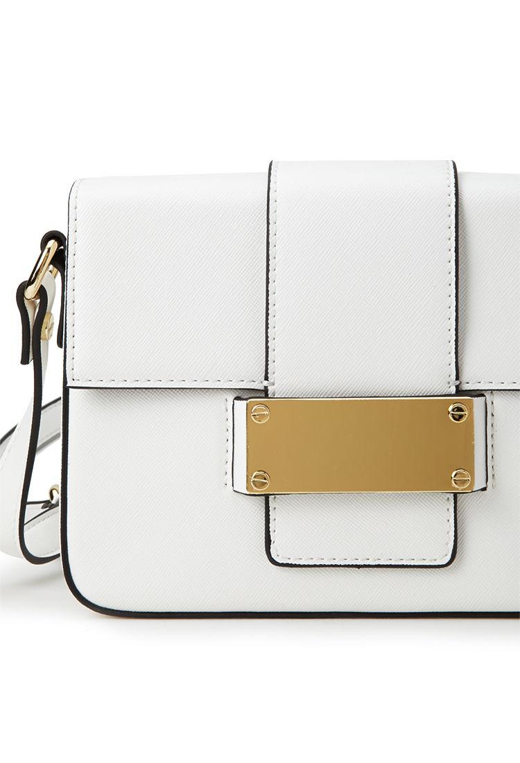 Lyst - Forever 21 Buckled Crossbody Bag In White