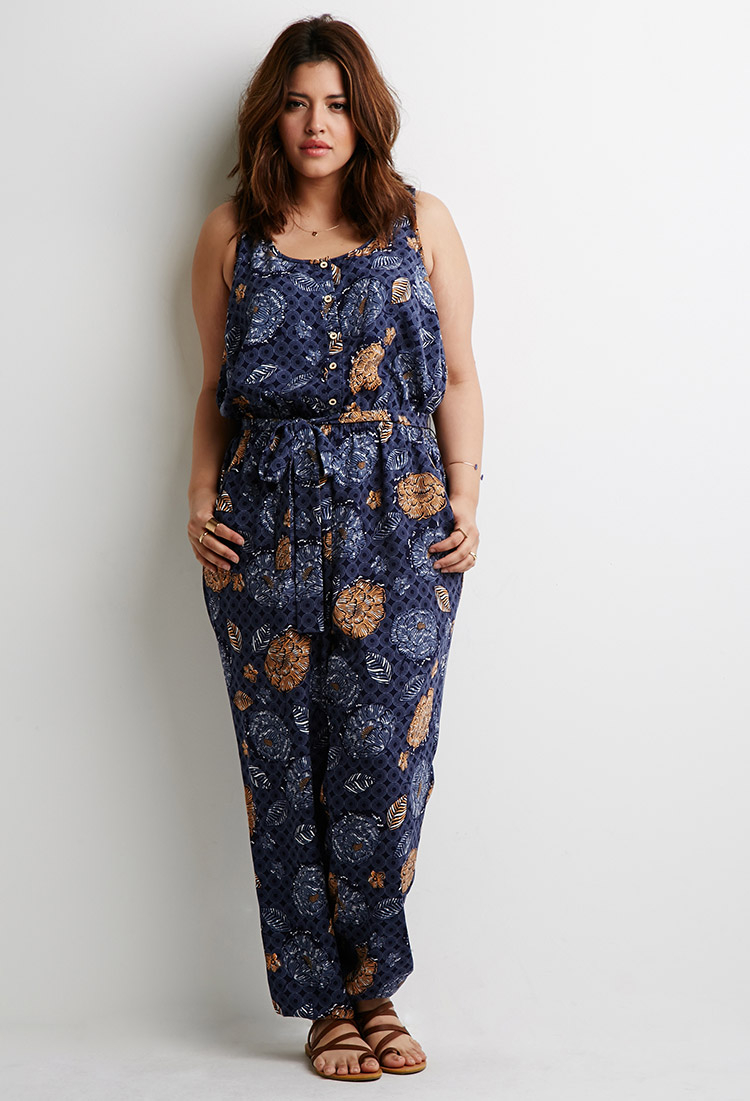 Forever 21 Plus Size Abstract Floral Jumpsuit In Blue | Lyst
