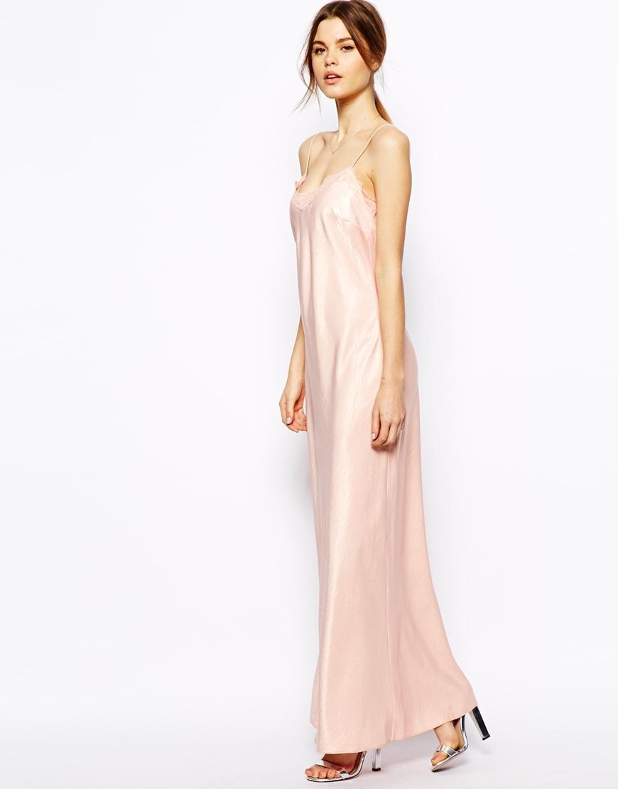 Asos Lace Trim Satin Maxi Dress in Black - Lyst