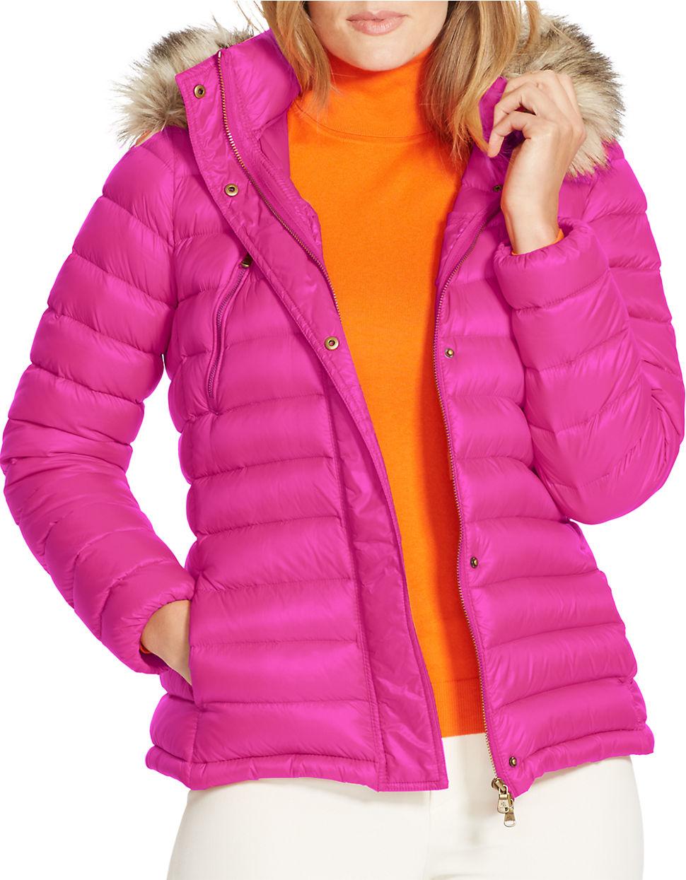 Lauren By Ralph Lauren Plus Faux Fur Trimmed Hooded Down