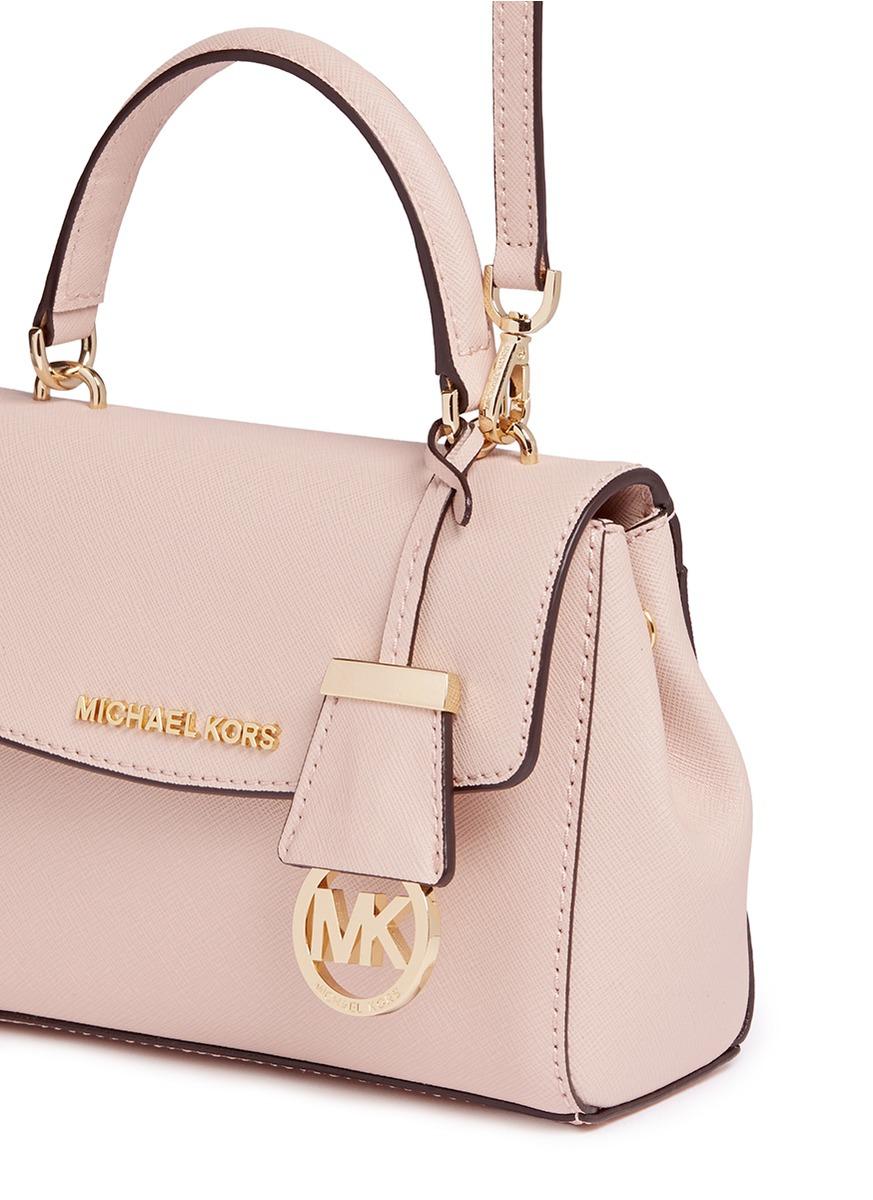 ba752fe885b88b Michael Kors 'ava' Petite Saffiano Leather Crossbody Bag in Pink - Lyst