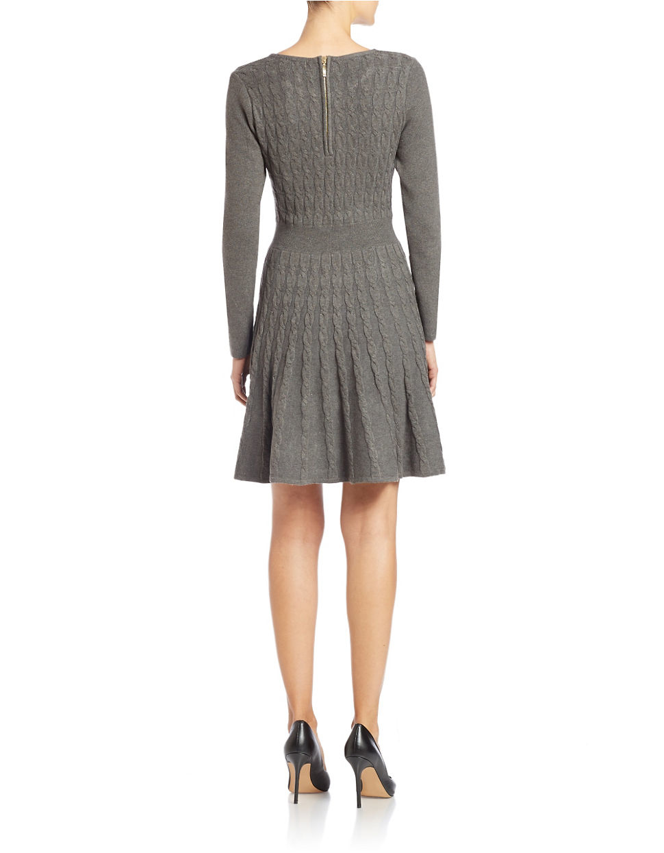 Lyst Eliza J Cable Knit Fit And Flare Sweater Dress In Gray