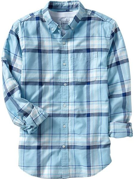 Old navy plaid slimfit oxford shirts in blue for men for Navy blue plaid shirt